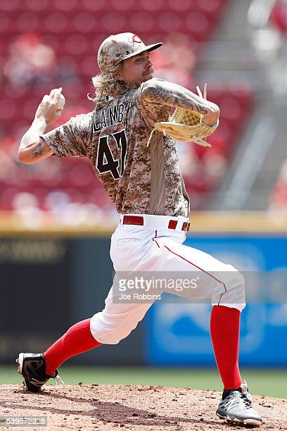 John Lamb of the Cincinnati Reds pitches against the Oakland Athletics in the second inning of the game at Great American Ball Park on June 12 2016...