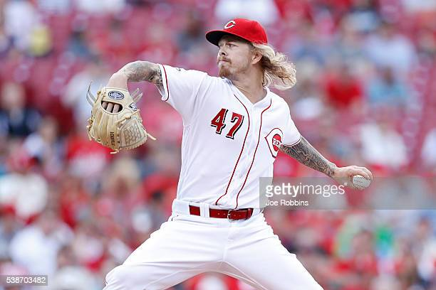 John Lamb of the Cincinnati Reds pitches against the St Louis Cardinals in the first inning of the game at Great American Ball Park on June 7 2016 in...