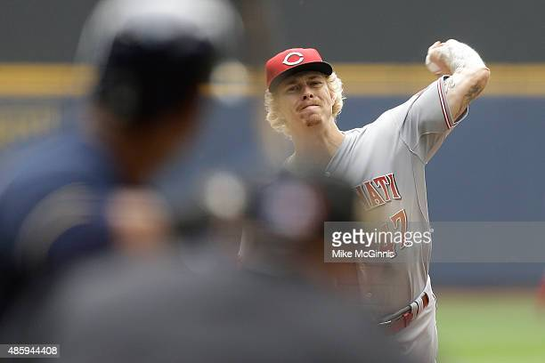 John Lamb of the Cincinnati Reds pitches during the first inning against the Milwaukee Brewers at Miller Park on August 30 2015 in Milwaukee Wisconsin