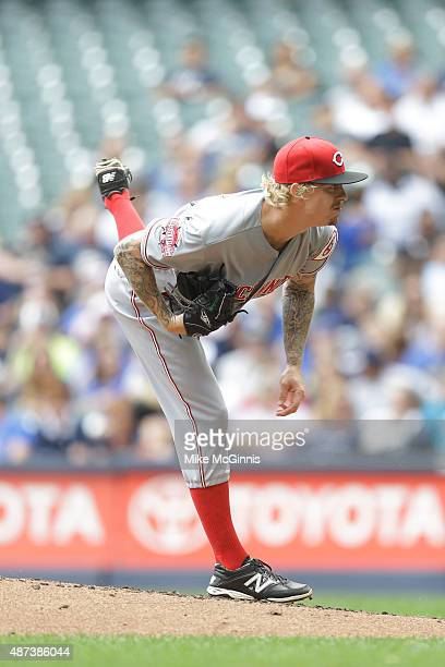 John Lamb of the Cincinnati Reds pitches during the game against the Milwaukee Brewers at Miller Park on August 30 2015 in Milwaukee Wisconsin