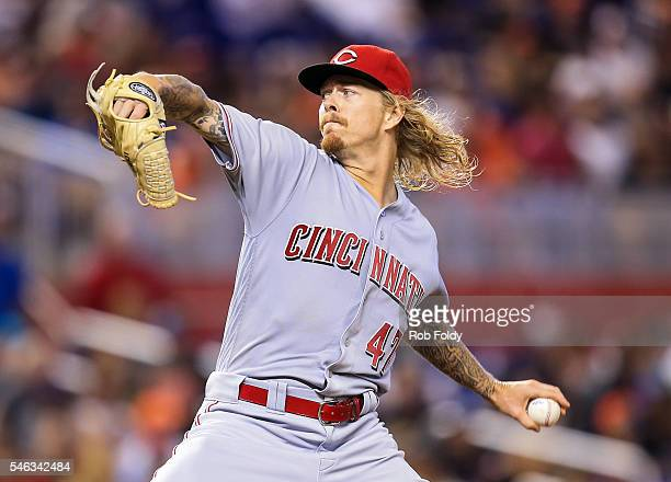 John Lamb of the Cincinnati Reds pitches during the game against the Miami Marlins at Marlins Park on July 9 2016 in Miami Florida