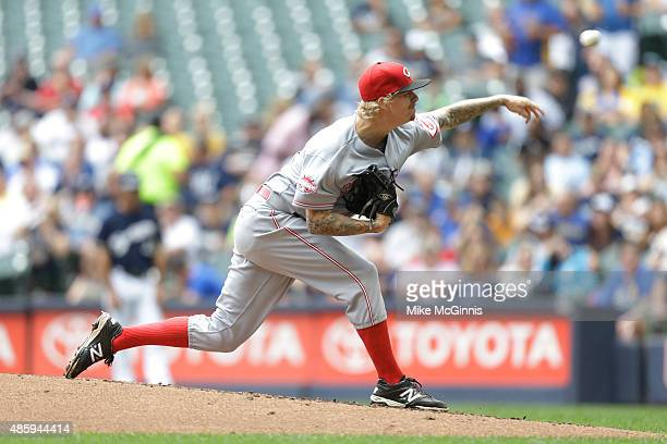 John Lamb of the Cincinnati Reds pitches during the second inning against the Milwaukee Brewers at Miller Park on August 30 2015 in Milwaukee...