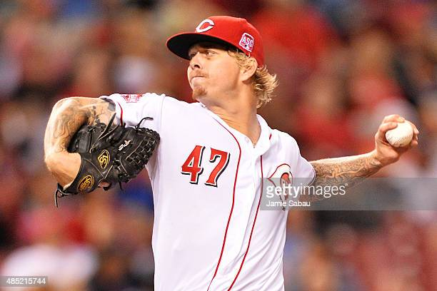 John Lamb of the Cincinnati Reds pitches in the fifth inning against the Los Angeles Dodgers at Great American Ball Park on August 25 2015 in...