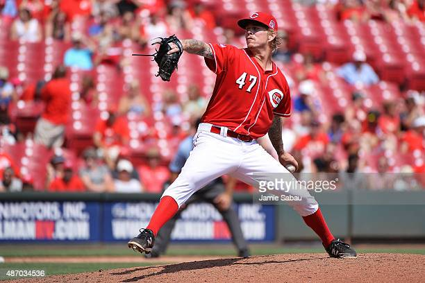 John Lamb of the Cincinnati Reds pitches in the fifth inning against the Milwaukee Brewers at Great American Ball Park on September 5 2015 in...