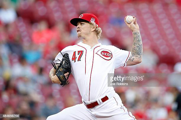 John Lamb of the Cincinnati Reds pitches in the first inning against the Arizona Diamondbacks at Great American Ball Park on August 20 2015 in...