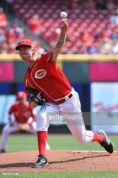 John Lamb of the Cincinnati Reds pitches in the first inning against the Milwaukee Brewers at Great American Ball Park on September 5 2015 in...