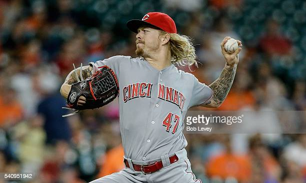 John Lamb of the Cincinnati Reds pitches in the first inning against the Houston Astros at Minute Maid Park on June 17 2016 in Houston Texas