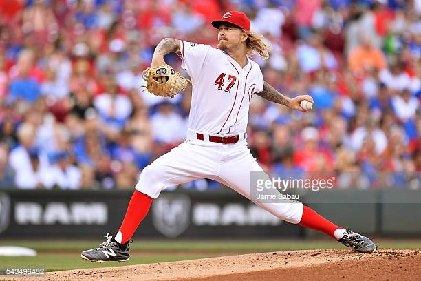 John Lamb of the Cincinnati Reds pitches in the first inning against the Chicago Cubs at Great American Ball Park on June 28 2016 in Cincinnati Ohio