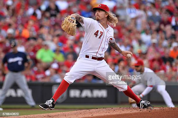 John Lamb of the Cincinnati Reds pitches in the first inning against the Milwaukee Brewers at Great American Ball Park on July 16 2016 in Cincinnati...