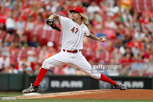 John Lamb of the Cincinnati Reds throws a pitch during the first inning of the game against the San Diego Padres at Great American Ball Park on June...