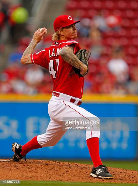John Lamb of the Cincinnati Reds throws a pitch during their game against the New York Mets at Great American Ball Park on September 26 2015 in...