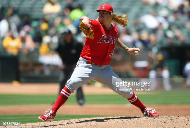 John Lamb of the Los Angeles Angels of Anaheim pitches against the Oakland Athletics in the bottom of the second inning at the Oakland Alameda...