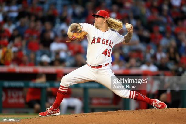 John Lamb of the Los Angeles Angels of Anaheim pitches during the second inning of a game against the Toronto Blue Jays at Angel Stadium on June 21...