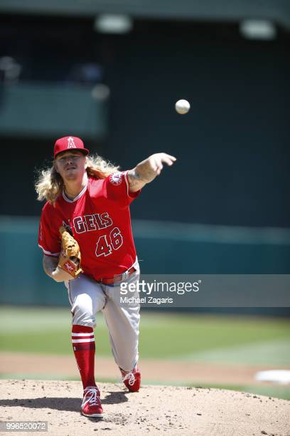 John Lamb of the Los Angeles Angels of Anaheim pitches during the game against the Oakland Athletics at the Oakland Alameda Coliseum on June 16 2018...