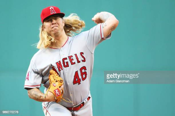 John Lamb of the Los Angeles Angels pitches in the first inning of a game against the Boston Red Sox at Fenway Park on June 26 2018 in Boston...