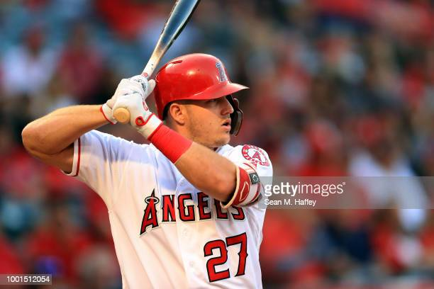 John Lamb Trout of the Los Angeles Angels of Anaheim hits during a game against the Toronto Blue Jays at Angel Stadium on June 21 2018 in Anaheim...