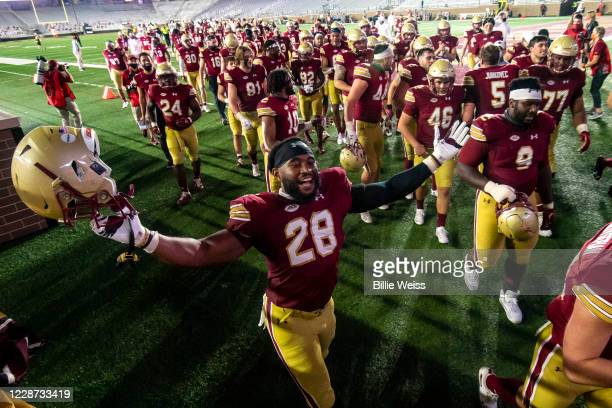 John Lamot of the Boston College Eagles runs onto the field as he celebrates a victory against the Texas State Bobcats at Alumni Stadium on September...