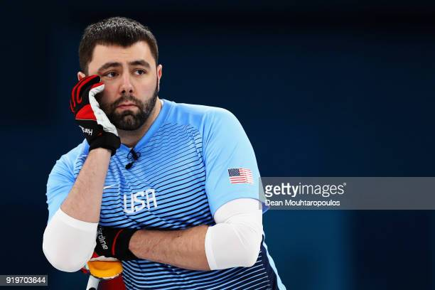 John Landsteiner of USA looks on during the Curling round robin session 7 on day nine of the PyeongChang 2018 Winter Olympic Games at Gangneung...