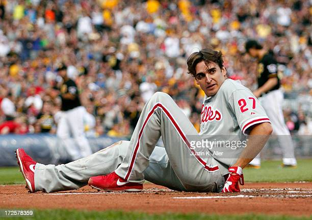 John Lannan of the Philadelphia Phillies reacts after being thrown out at home in the third inning against the Pittsburgh Pirates during the game on...