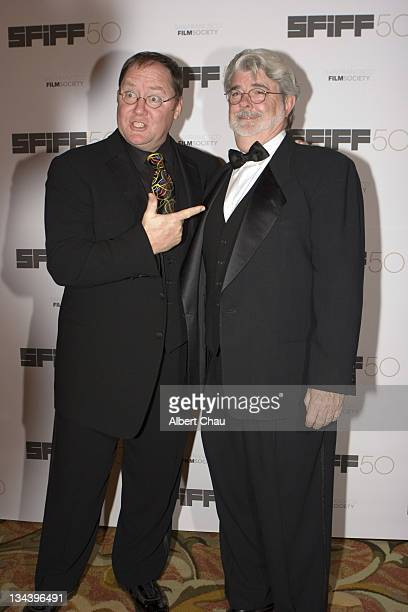 John Lasseter and George Lucas during 50th Annual San Francisco International Film Festival Film Society Awards Night at Westin St Francis Hotel in...
