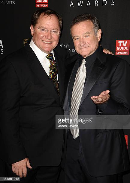 John Lasseter and Robin Williams attend the BAFTA Los Angeles Britannia Awards at The Beverly Hilton hotel on November 30, 2011 in Beverly Hills,...
