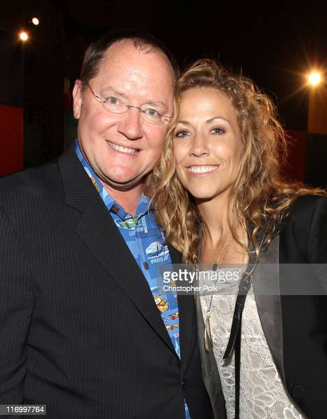John Lasseter Chief Creative Officer at Pixar and Walt Disney Animation Studios and director of 'Cars 2' and musician Sheryl Crow attend the after...