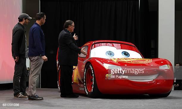 John Lasseter Chief Creative Officer of Pixar Animation Studios Jay Ward Creative Director and Jay Shuster Production Designer debut a lifesize...