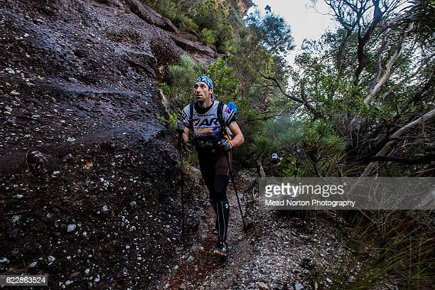 John Laughlin from Team Mountain Designs Tiger Adventure from Australia hiking up to 'The Castle' in Morton National Park during the Adventure Race...