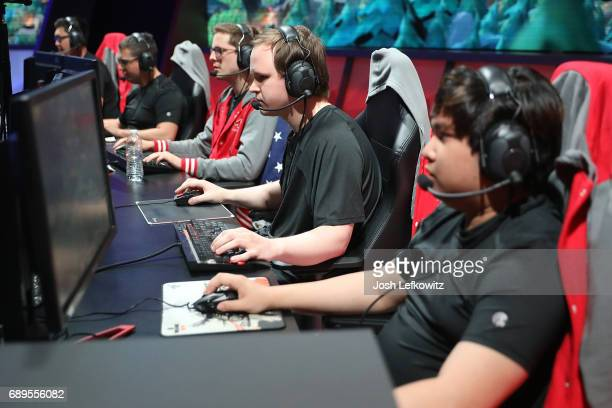 John Le Marko Sosniki Andrew Smith Cody Altman and Tony Chau of Maryville University are seen in the League of Legends College Championship Game...