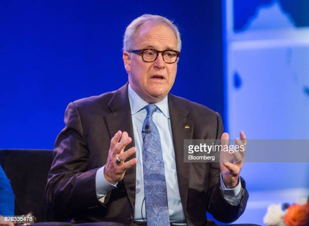 John Lechleiter former president and chief executive officer of Eli Lilly Co speaks during the World Medical Innovation Forum in Boston Massachusetts...
