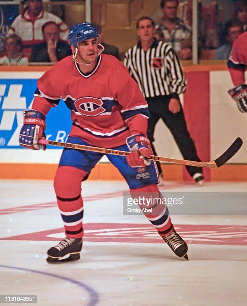 John LeClair of the Montreal Canadiens skates against the Toronto Maple Leafs during NHL preseason game action on September 12 1994 at Maple Leaf...