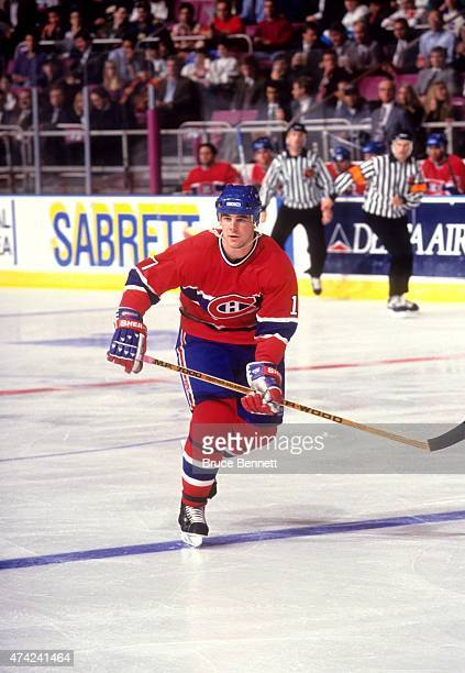 John LeClair of the Montreal Canadiens skates on the ice during an NHL game circa 1994 at the Madison Square Garden in New York New York