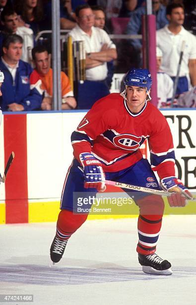 John LeClair of the Montreal Canadiens skates on the ice during an NHL game on October 28 1993 at the Madison Square Garden in New York New York