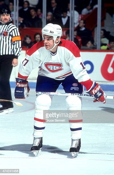 John LeClair of the Montreal Canadiens skates on the ice during the 1992 Division Finals against the Boston Bruins in May 1991 at the Montreal Forum...