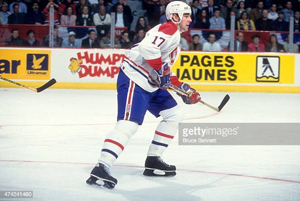 John LeClair of the Montreal Canadiens skates on the ice during the 1991 Division SemiFinals against the Buffalo Sabres in April 1991 at the Montreal...