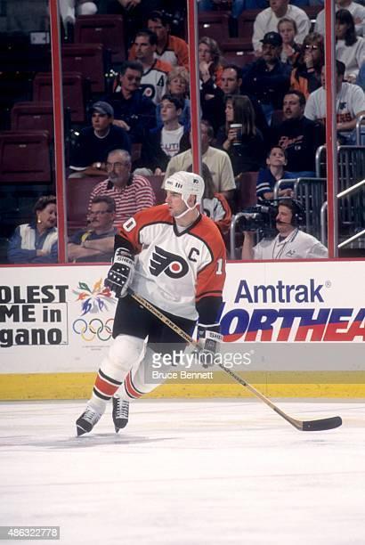 John LeClair of the Philadelphia Flyers skates on the ice during an NHL preseason game in September 1997 at the Wells Fargo Center in Philadelphia...