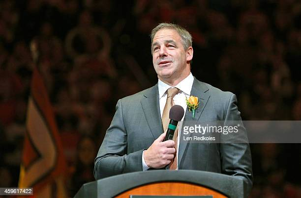 John LeClair speaks to the crowd during his Philadelphia Flyers Hall of Fame Induction Ceremony prior to the Flyers playing the Minnesota Wild on...