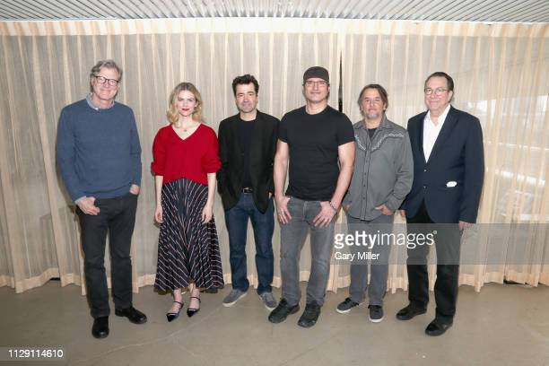 John Lee Hancock Brooklyn Decker Ron Livingston Robert Rodriguez Richard Linklater and Steven Gaydos attend the 2019 Texas Film Awards Press...