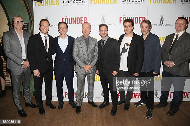 John Lee Hancock Patrick Wilson BJ Novak Michael Keaton Aaron Ryder Robert Siegel Carter Burwell and Jason French attend The Weinstein Company with...