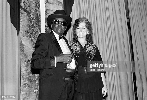 John Lee Hooker and Bonnie Raitt at the Rock Roll Hall Of Fame at the Waldorf Astoria in New York City on January 16 1991