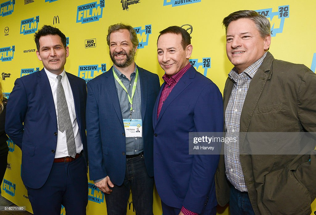 John Lee, Judd Apatow, Paul Reubens and Ted Sarandos attend Netflix presents the world premiere of 'Pee-wee's Big Holiday' at SXSW March 17, 2016 in Austin, Texas.