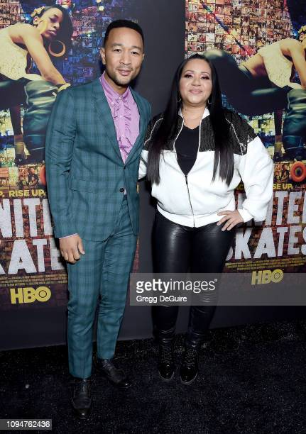 John Legend and Cheryl James aka Salt of SaltNPepa attend the Los Angeles premiere of HBO's Documentary Film United Skates at Avalon Hollywood on...