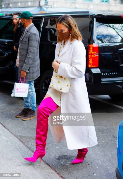 John Legend and Chrissy Teigen are seen out and about on March 06, 2021 in New York City.