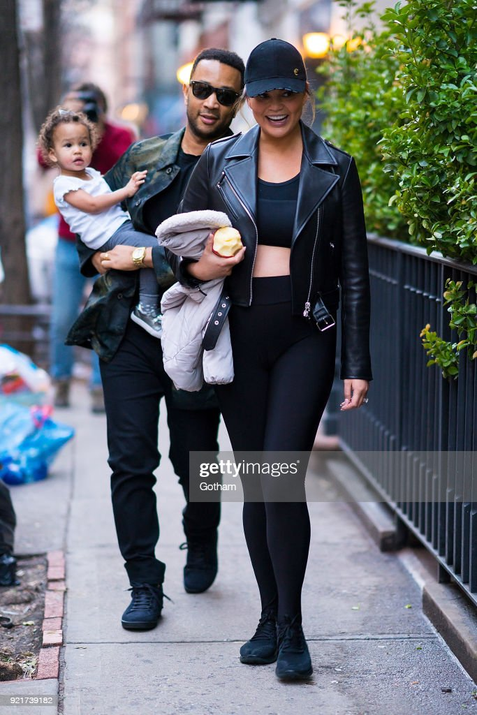 John Legend and Chrissy Teigen are seen with their daughter Luna in SoHo on February 20, 2018 in New York City.