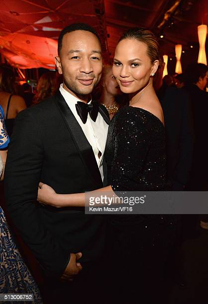 John Legend and Chrissy Teigen attend the 2016 Vanity Fair Oscar Party Hosted By Graydon Carter at the Wallis Annenberg Center for the Performing...