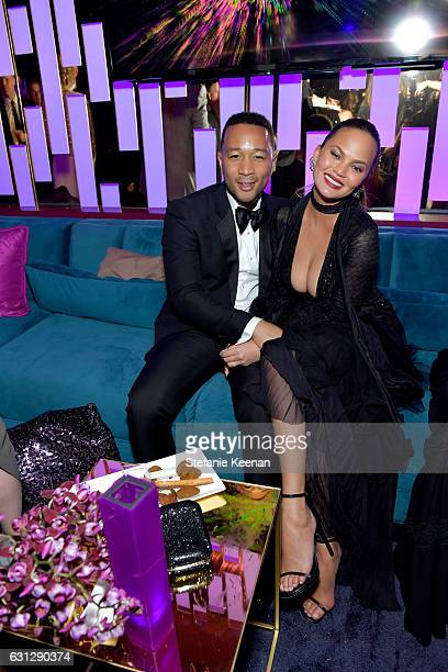 John Legend and Chrissy Teigen attend The 2017 InStyle and Warner Bros 73rd Annual Golden Globe Awards PostParty at The Beverly Hilton Hotel on...