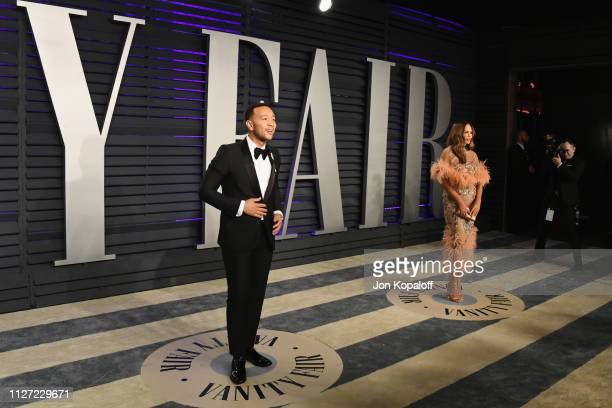 John Legend and Chrissy Teigen attend the 2019 Vanity Fair Oscar Party hosted by Radhika Jones at Wallis Annenberg Center for the Performing Arts on...