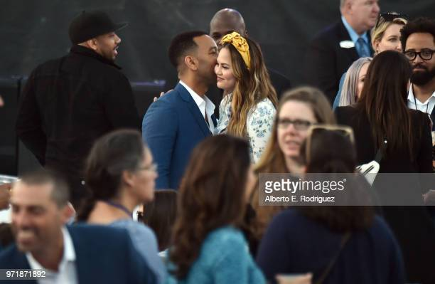 John Legend and Chrissy Teigen attend the Fourth Annual Los Angeles Dodgers Foundation Blue Diamond Gala at Dodger Stadium on June 11 2018 in Los...