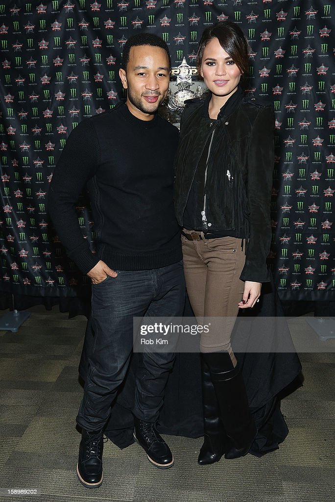 John Legend (L) and Chrissy Teigen attend The Professional Bull Riders 2013 Monster Energy Invitational VIP Party at Madison Square Garden on January 4, 2013 in New York City.