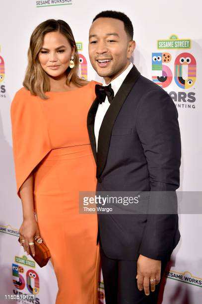 John Legend and Chrissy Teigen attend the Sesame Workshop's 50th Anniversary Benefit Gala at Cipriani Wall Street on May 29 2019 in New York City